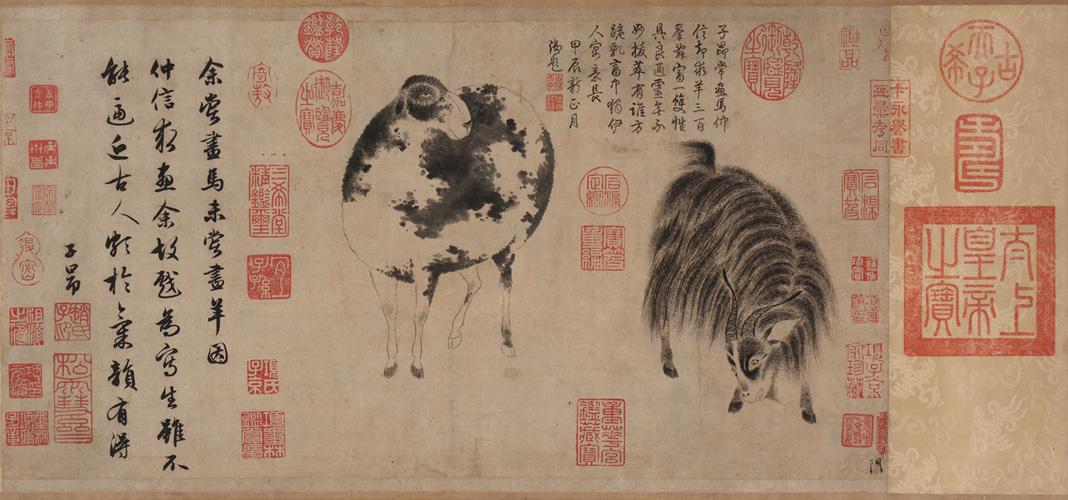 """Zhao Mengfu (1254-1322), """"Pecora e capra"""". L'iscrizione sulla sinistra è calligrafata dallo stesso pittore. Quella in alto a destra, aggiunta nel XVIII sec., è di mano dell'imperatore Qianlong."""